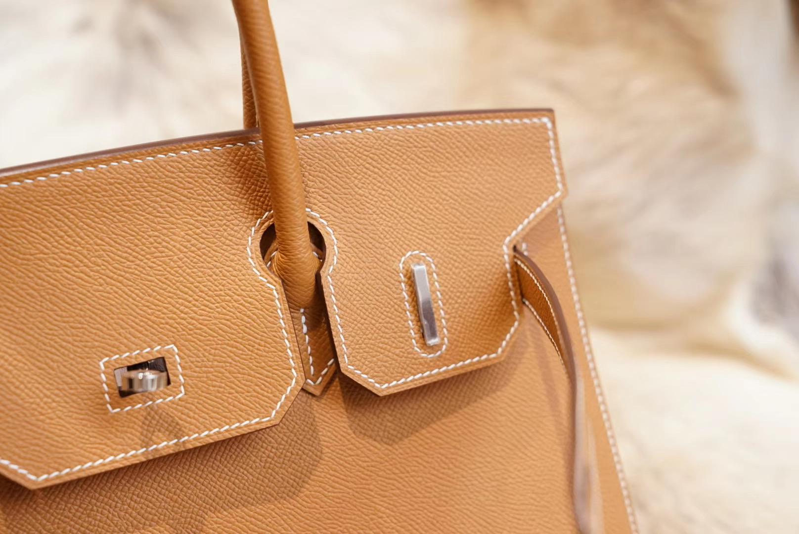 Hermes 铂金包 金棕 外缝 BK30  原厂Epsom皮 法国蜡线 全手缝