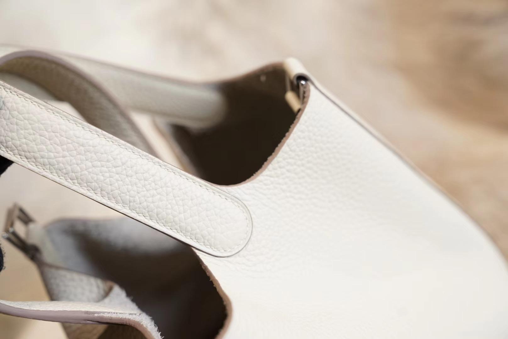 HERMES C10奶昔白 菜蓝子18 原厂Clemence皮 法国蜡线 全手缝