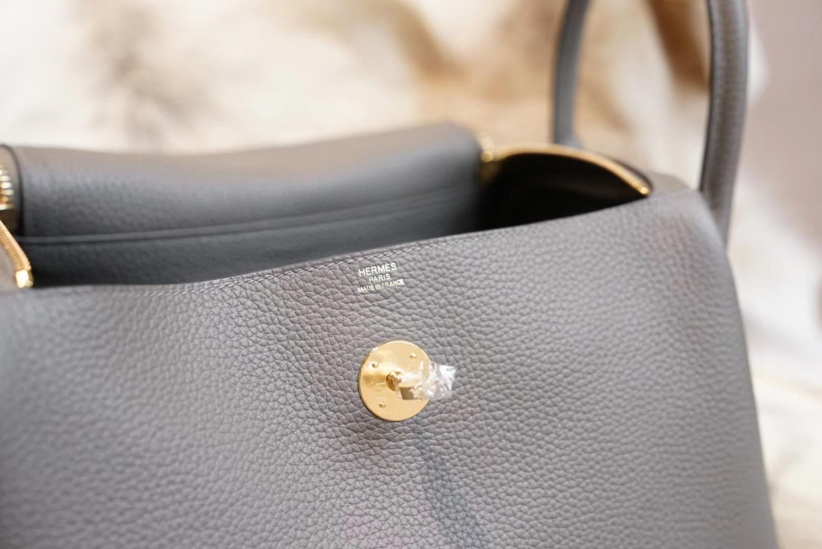 Hermes Lindy 8F锡器灰 LD30 原厂Clemence皮 法国蜡线 全手缝