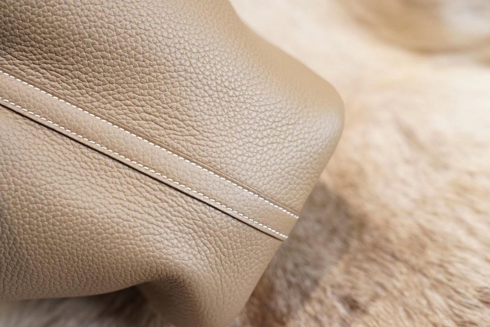 HERMES CK18大象灰 菜篮子18 原厂Clemence皮 法国蜡线 全手缝