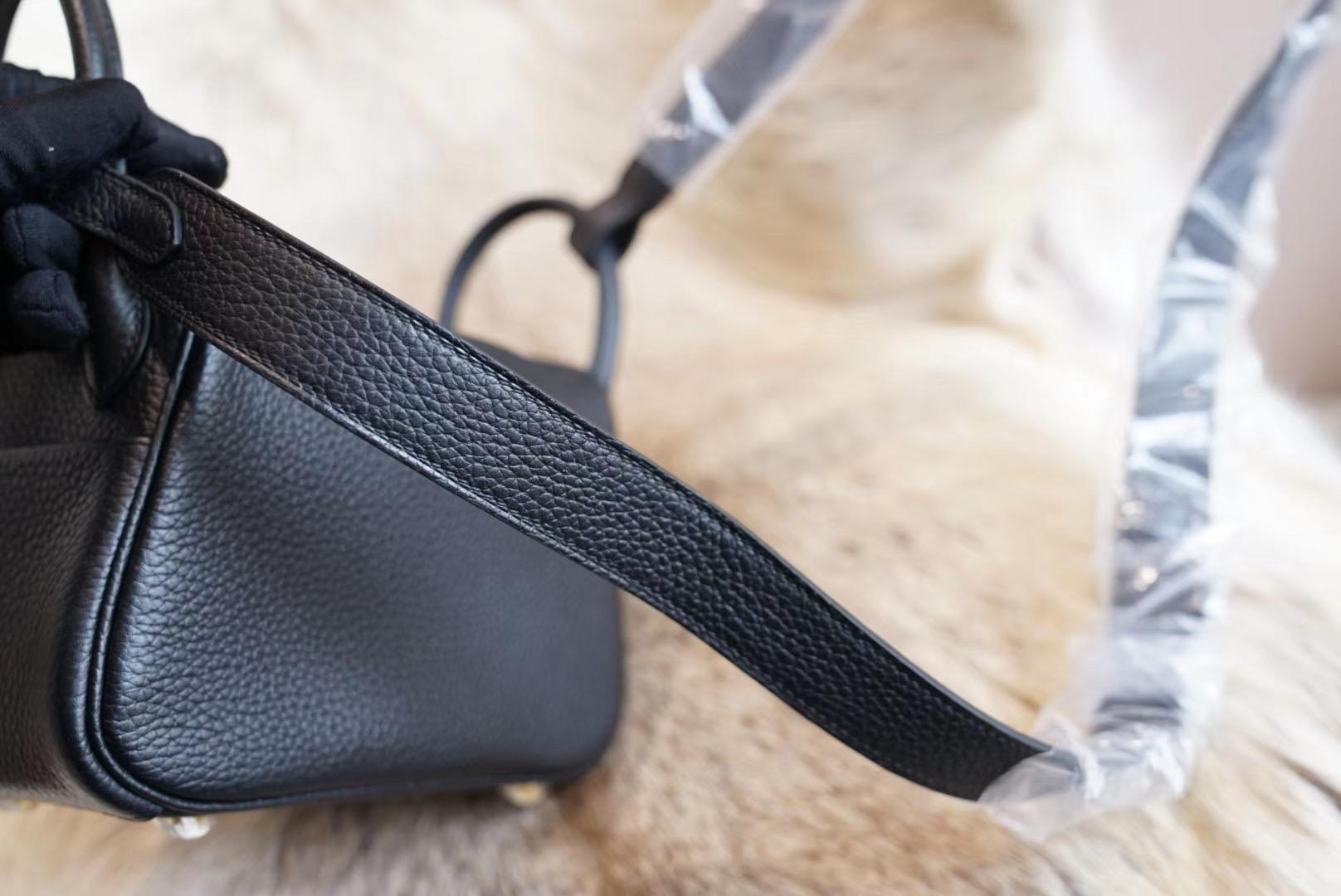 HERMES CK89黑色 Mini Lindy 原厂Clemence皮 法国蜡线 全手缝