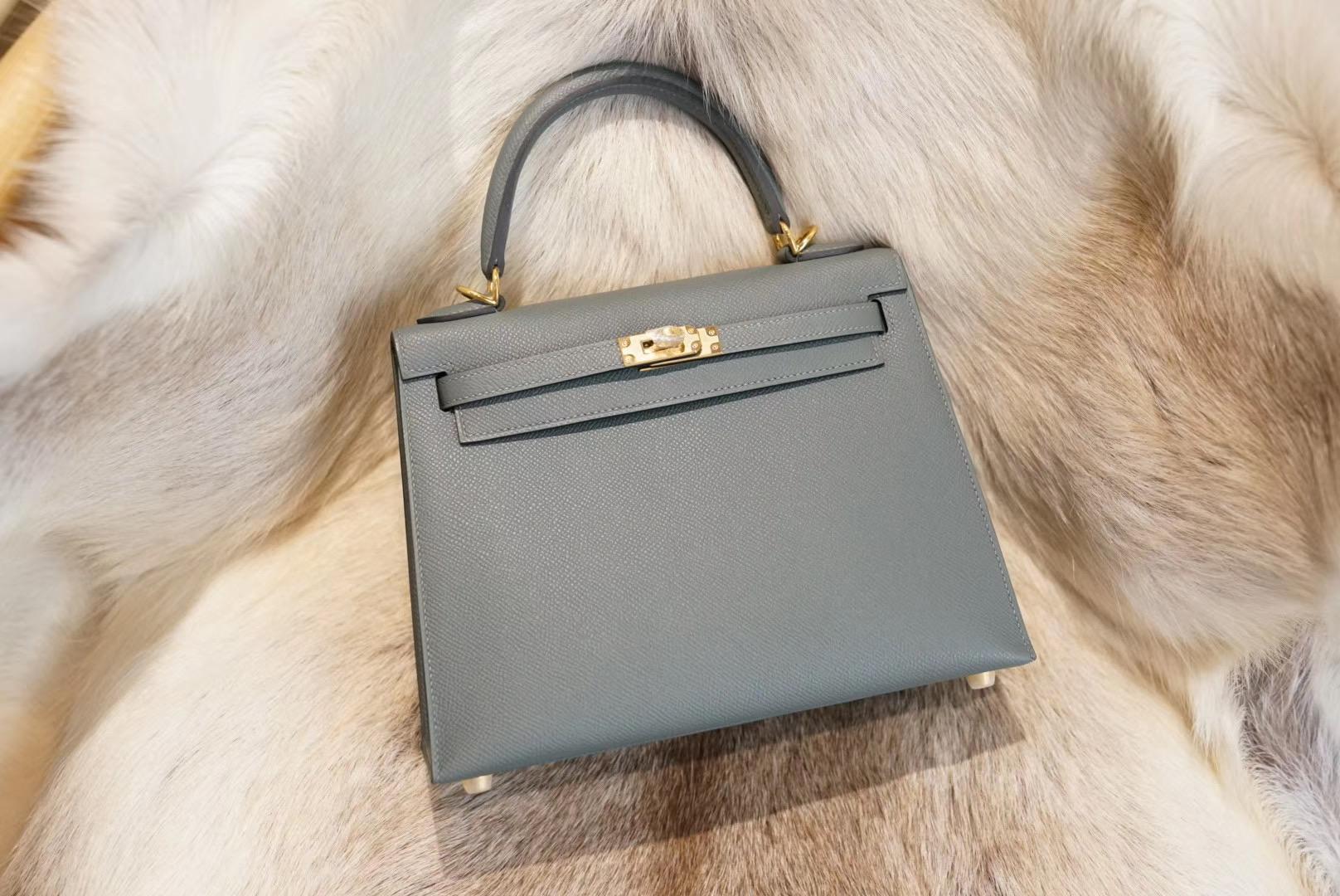 Hermes Kelly C63杏仁绿 KL25 原厂Epsom皮 法国蜡线 全手缝
