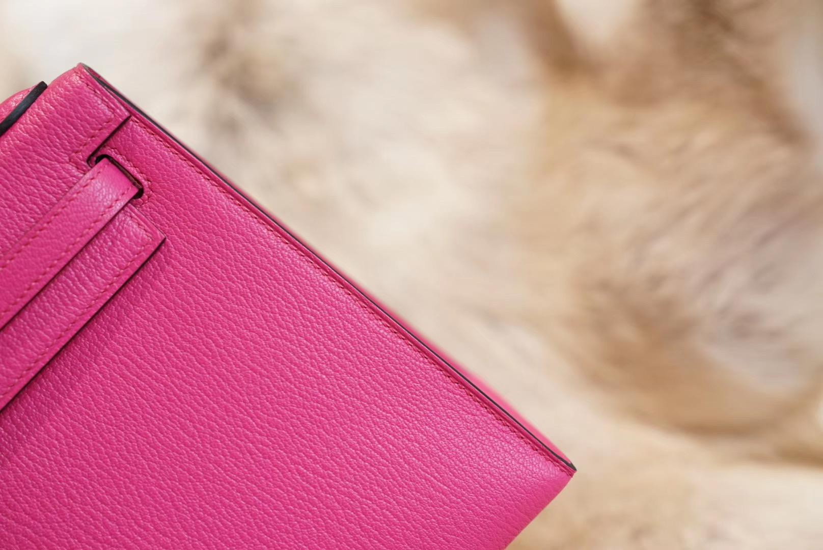 Kelly 桃粉色 KL25 原厂顶级山羊皮 法国蜡线 全手缝