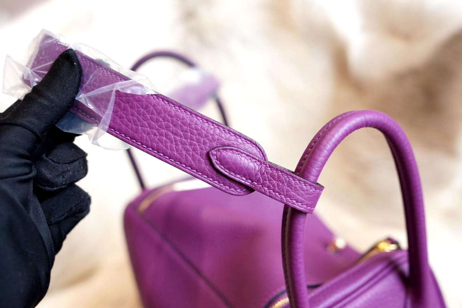 最新年份真品开版 P9海葵紫 琳迪包 Lindy 26CM 金扣 原厂Clemence皮 法国蜡线 全手缝