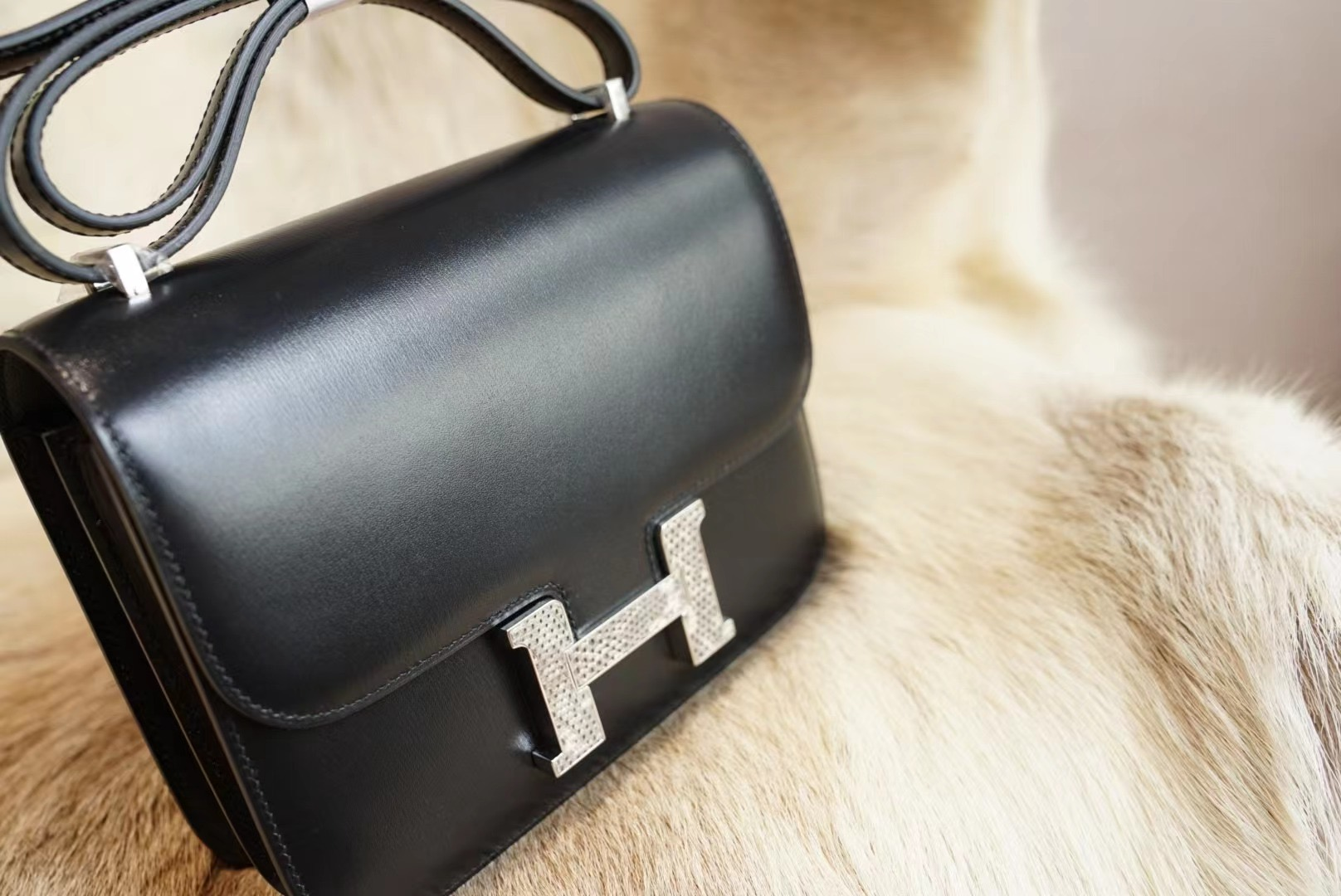Hermes Constance CK89黑色 拼雪花蜥蜴扣 小康19 原厂Box皮 法国蜡线 全手缝