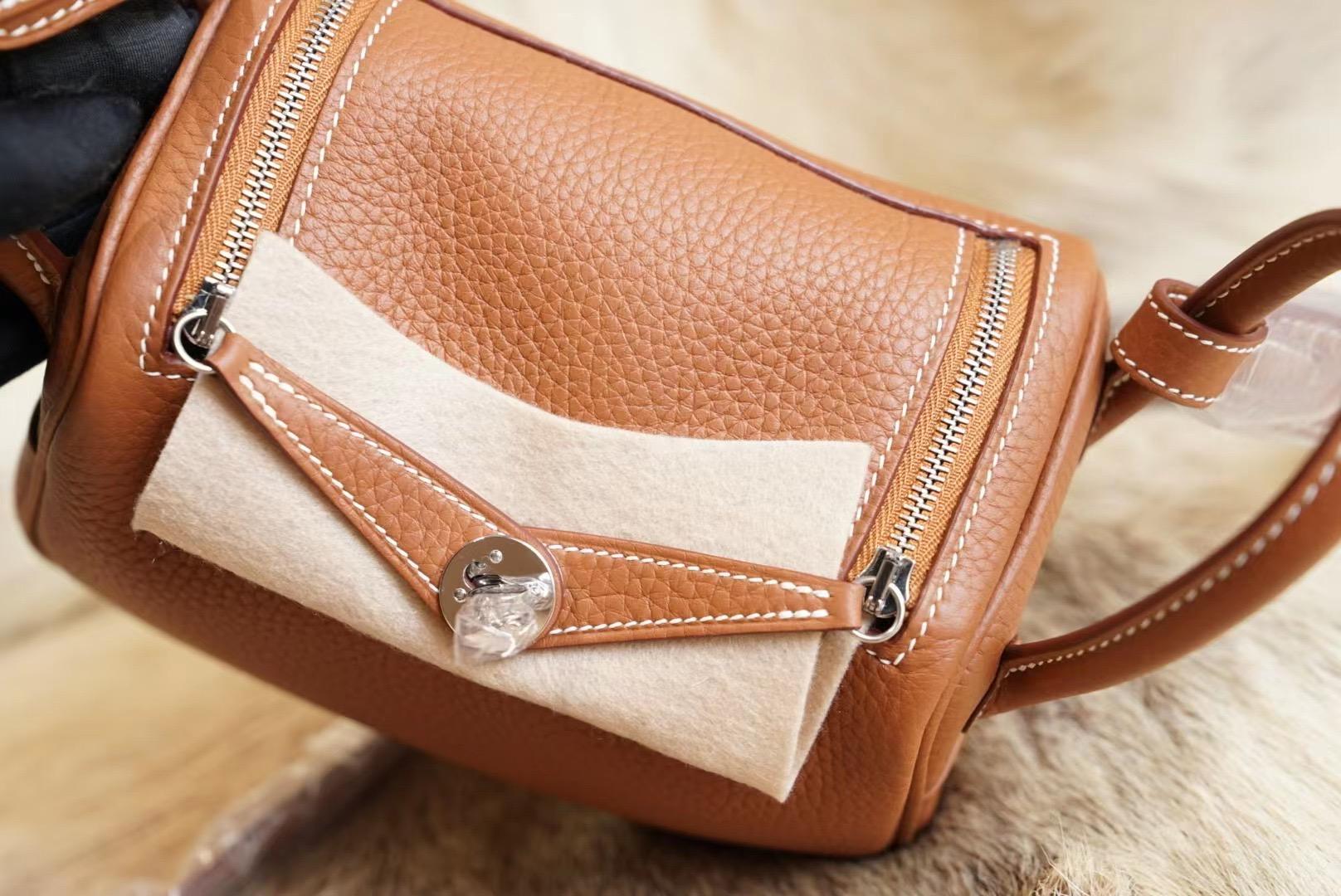 Hermes Mini Lindy CK37金棕 银扣 原厂Clemence皮 法国蜡线 全手缝
