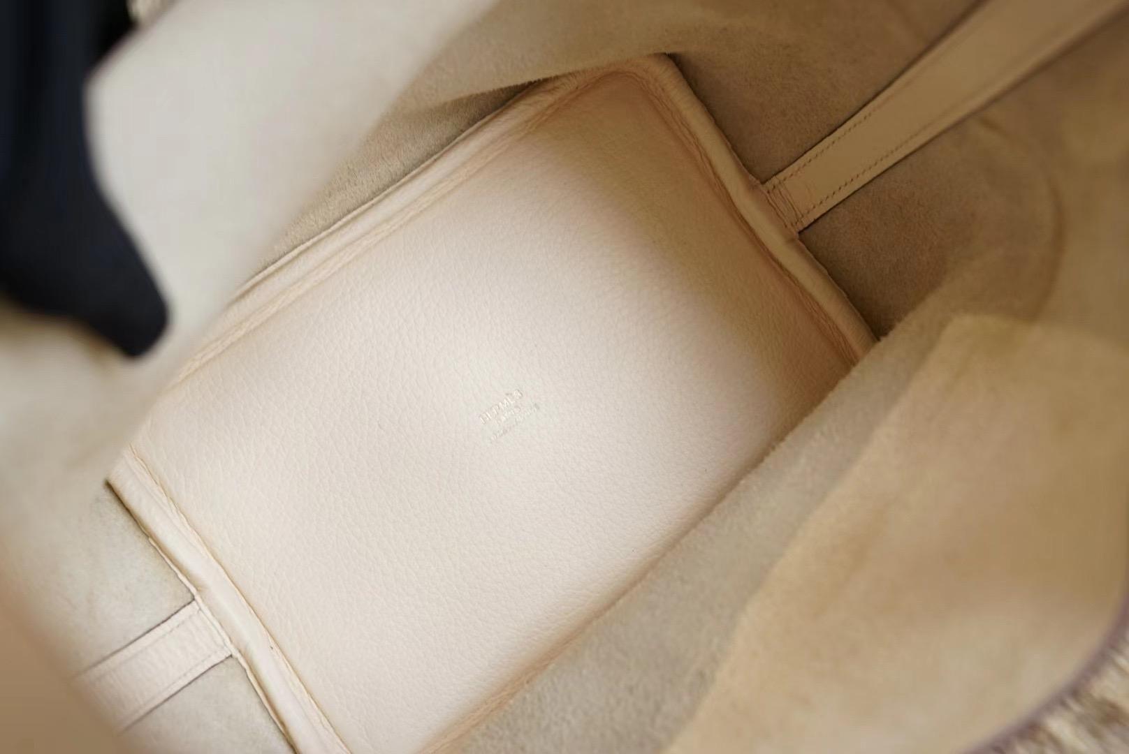 Hermes Picotin 18CM Nata奶油白 菜蓝子18 原厂 Clemence皮 法国蜡线 全手缝
