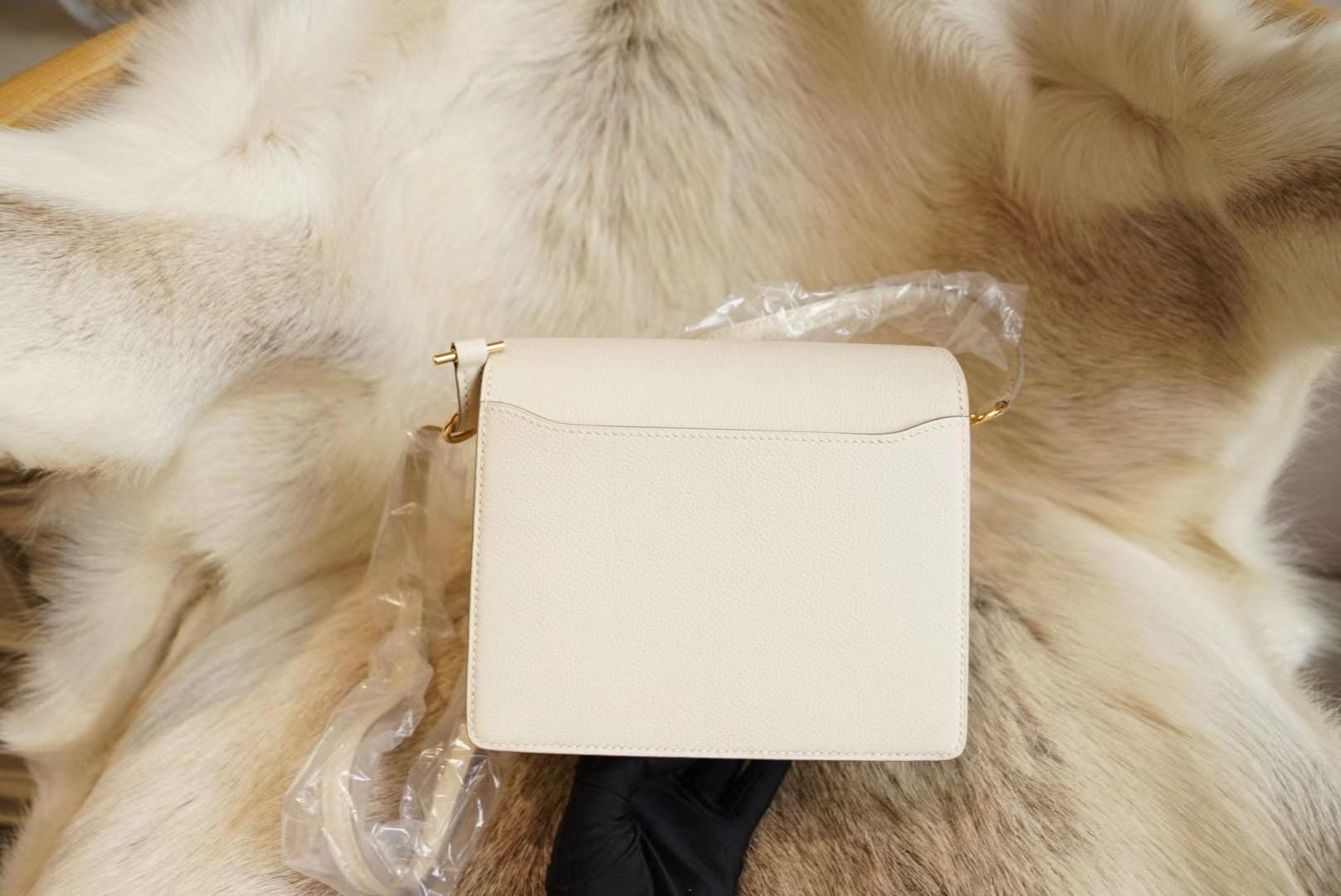 Hermes Roulis C10 奶昔白 Mini猪鼻子包 原厂Evercolor皮法国蜡线 全手缝
