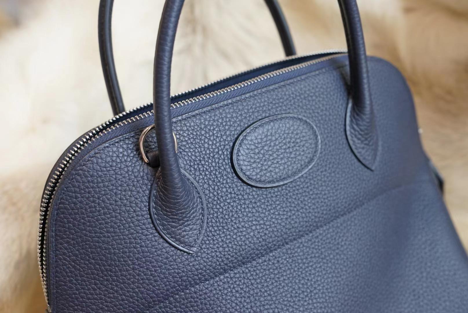 Hermes Bolide 31CM 午夜蓝 保龄球 31 原厂Clemence皮 法国蜡线 全手缝