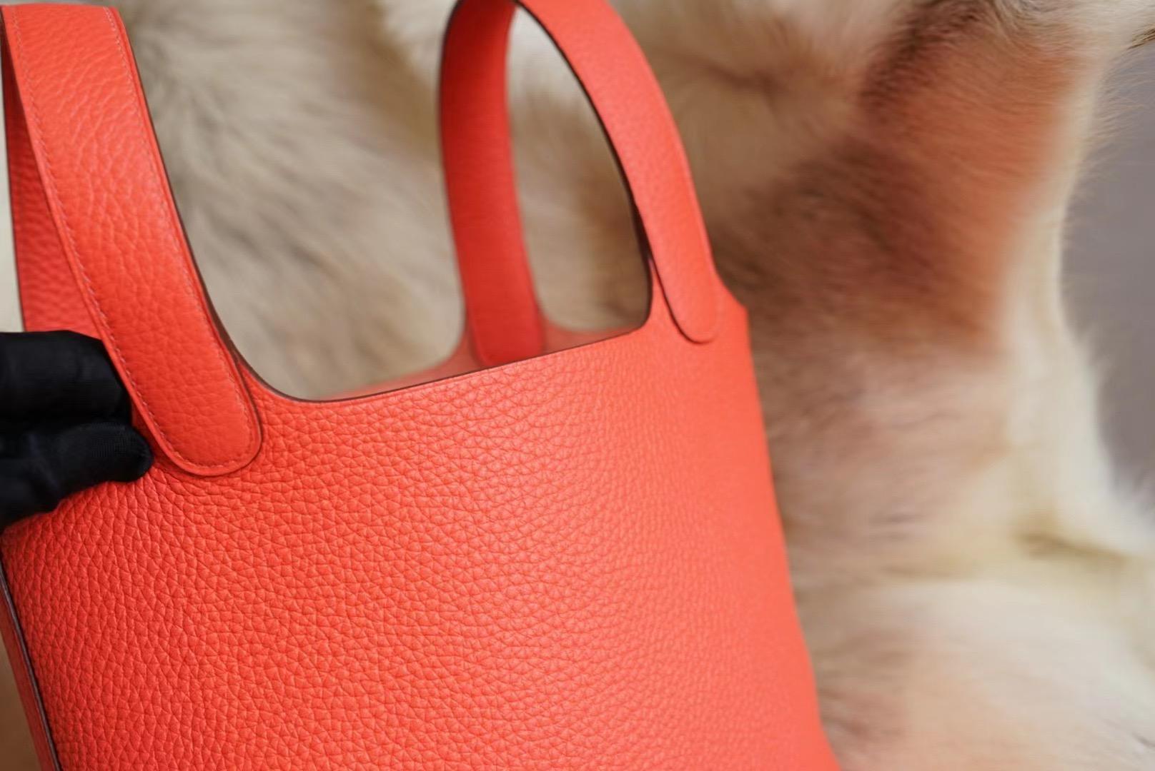 Hermes Picotin 18CM  0E德州粉 菜篮子18 原厂clemence皮 法国蜡线 全手缝